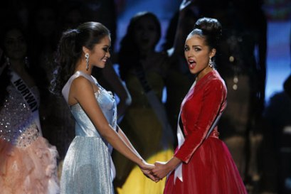 Miss USA Olivia Culpo reacts after winning Miss Universe pageant in Las Vegas